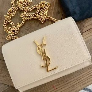 Authentic Small Grain YSL Kate in beige